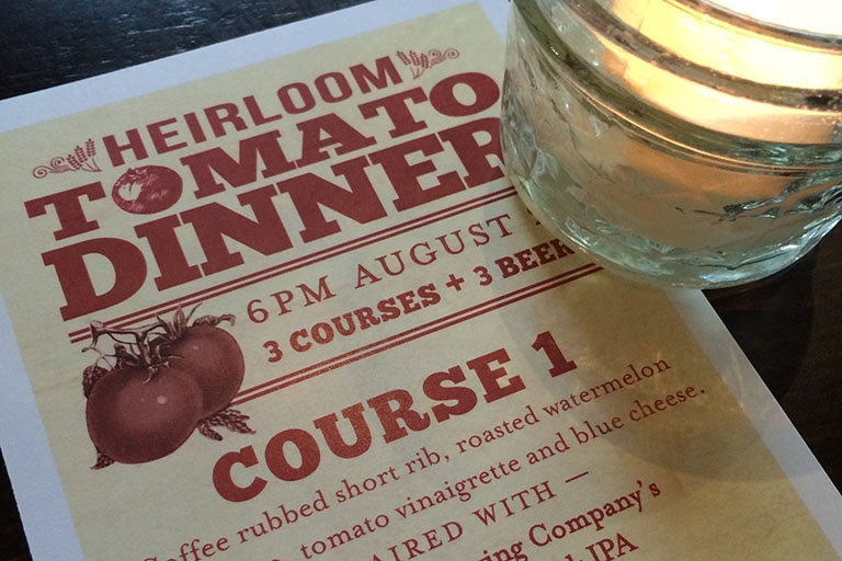 Heirloom Tomato Dinner at The Coopers Tavern